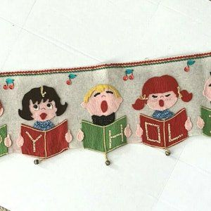 Vintage Christmas Runner Felt Kids Choir Singing